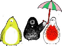Kleine Vögel mit Schirm
